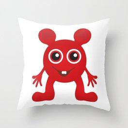 Red Smiley Man Throw Pillow