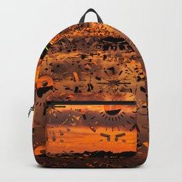 Sunset landscape with round random shapes Backpack