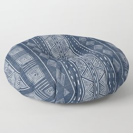 Mudcloth Navy Blue and White Vertical Tribal Pattern Floor Pillow