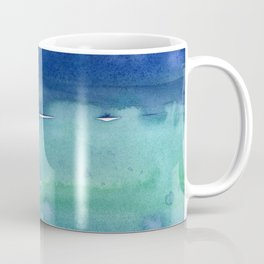 Abstract Blue Horizontal Stripes Watercolor Texture Coffee Mug