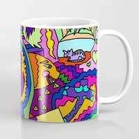 psychadelic Mugs featuring Abstract 18 by Linda Tomei