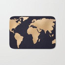 World Map Metallic Copper on Navy Blue Bath Mat