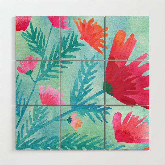 Joy / floral watercolor Wood Wall Art