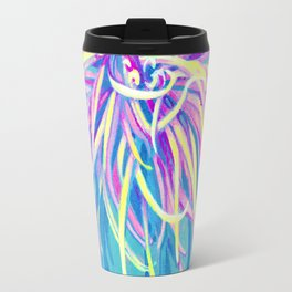 Bright Blue Pop Art Chrysanthemum Travel Mug