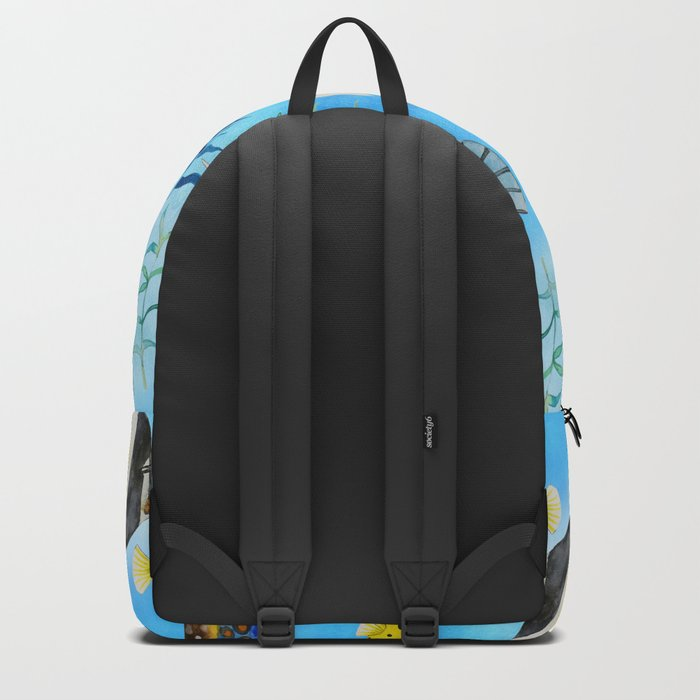 The deep sea-fishes in the sea- watercolor I Backpack