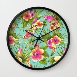 Tropical flowers with parrots Wall Clock