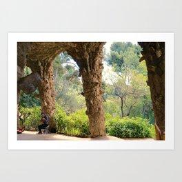 Musician in Park Guell, Barcelona Art Print