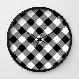 Gingham Plaid Black & White Wall Clock