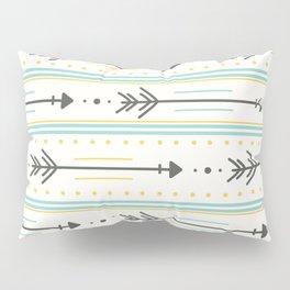 Boho gray yellow mint green polka dots arrows stripes Pillow Sham