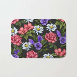 Flowers on Black Background, Original Art Bath Mat