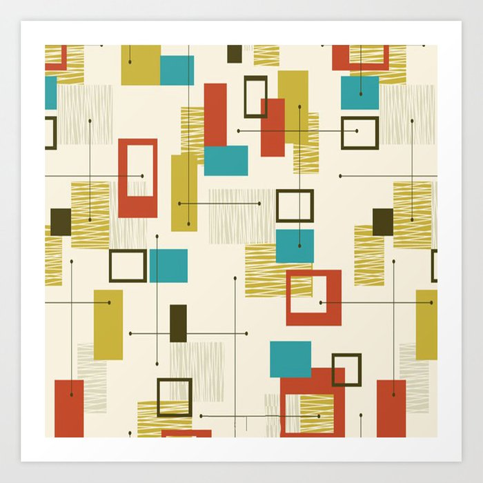 Mid Century Modern Sputnik Pattern Art Print
