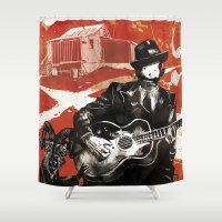 allyson johnson Shower Curtains featuring Delta Blues - Robert Johnson & Friends by Neil McKinney