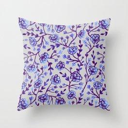 Watercolor Peonies - Periwinkle Throw Pillow