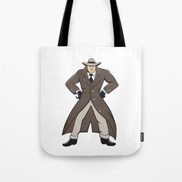 Detective Trenchcoat Hands Akimbo Cartoon Tote Bag