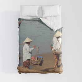 Lao Women going to the Market on the Mekong River Duvet Cover