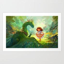 Pretty - Girl and Garden dragon Art Print