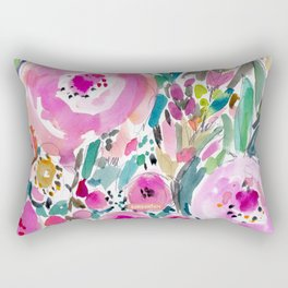 Pink Pow Wow Abstract Painterly Floral Rectangular Pillow