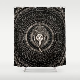 Lord Ganesha - Sepia Black Shower Curtain