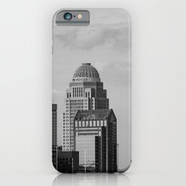 Downtown Louisville Skyline - Black and White iPhone Case