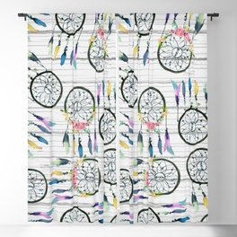 Rustic white wood colorful boho dream catcher Blackout Curtain