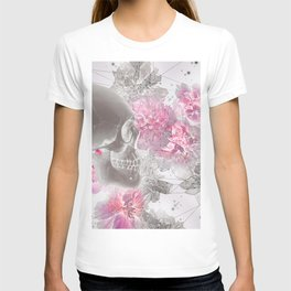 Negative Of Skull And Peonies T-shirt