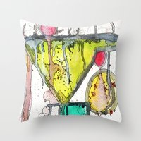 martini Throw Pillows featuring Dirty Martini by Ingrid Padilla