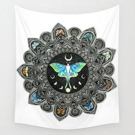 Lunar Moth Mandala Wall Tapestry