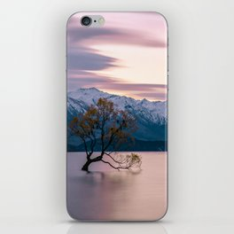 Scenic River with a Solo tree and Mountain Background iPhone Skin