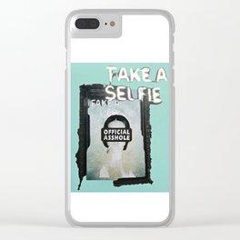 HEWGE TAKE A SELFIE FAKE A LIFE OA WITH BORDER Clear iPhone Case