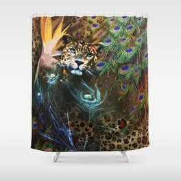 Exotic Leopard Peacock Feather Animal Print Floral Shower Curtain