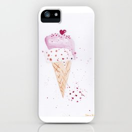 Ice cream Love watercolor illustration summer love pink strawberry iPhone Case