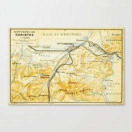 Vintage Map of Corinth Greece (1894) Canvas Print