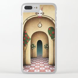 cover with arches in a large hall with a rabbit's head and chess Clear iPhone Case