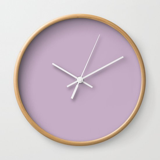 Simple Solid Color Wisteria Purple All Over Print Wall Clock By Podartist Society6
