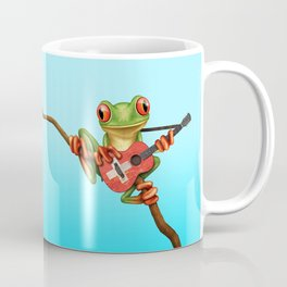 Tree Frog Playing Acoustic Guitar with Flag of Switzerland Coffee Mug