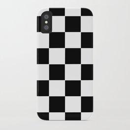 Checker Cross Squares Black & White iPhone Case