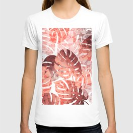 Monstera Leaves brown with Oriental Structure T-shirt