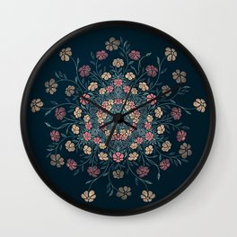Pretty Pastels Dark Floral Watercolors Wall Clock