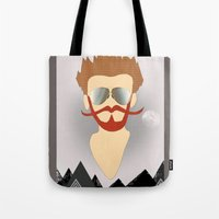 the dude Tote Bags featuring Dude by DM Davis