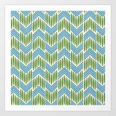 Vintage Basketweave: Chevron Art Print