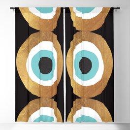 Gold Evil Eye 70s Bohemian Lucky Charm Nazar  Blackout Curtain