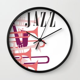 Jazz Big Band Homage Poster Design, For Jazz Musicians and Lovers, Original Design, tshirt, tee, jer Wall Clock