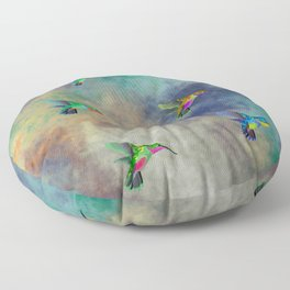 Secret Escape Hummingbird Design Floor Pillow