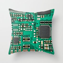 Electronic circuit board with processor Throw Pillow