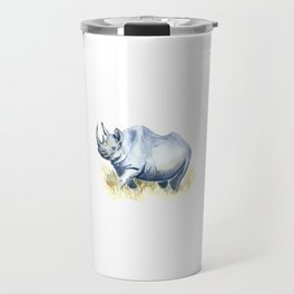Black Rhino Watercolor Painting Travel Mug