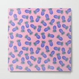 Chevron Pineapple Pink & Purple Metal Print
