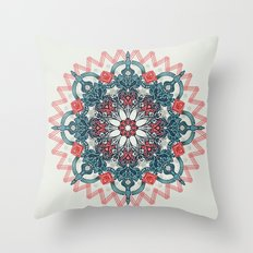 Coral & Teal Tangle Medallion Throw Pillow