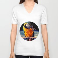 parrot V-neck T-shirts featuring Parrot by Cs025