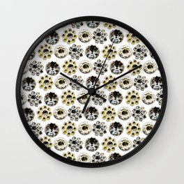 Jewelry Pattern. Black and Yellow Crystals Wall Clock