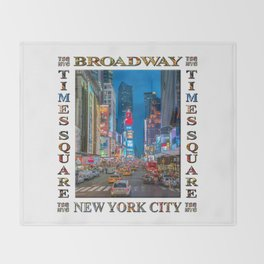 Times Square & Broadway (poster on white) Throw Blanket
